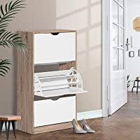 Artiss 36 Pairs Shoe Rack Cabinet Wooden 3-Tier Adjustable Shoe Organiser Shelves Cupboard