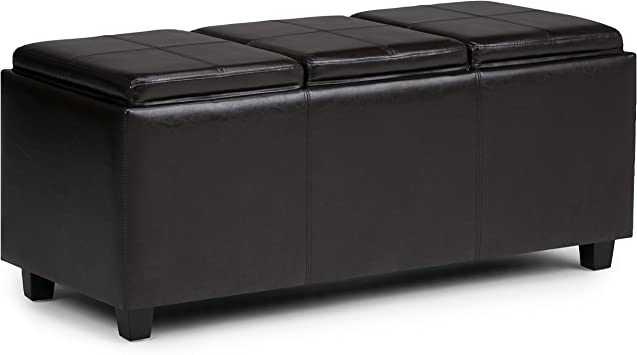 Amazon Com Simplihome Avalon 42 Inch Wide Rectangle Storage Ottoman In Upholstered Tanners Brown Faux Leather Coffee Table For The Living Room Bedroom Contemporary Furniture Decor
