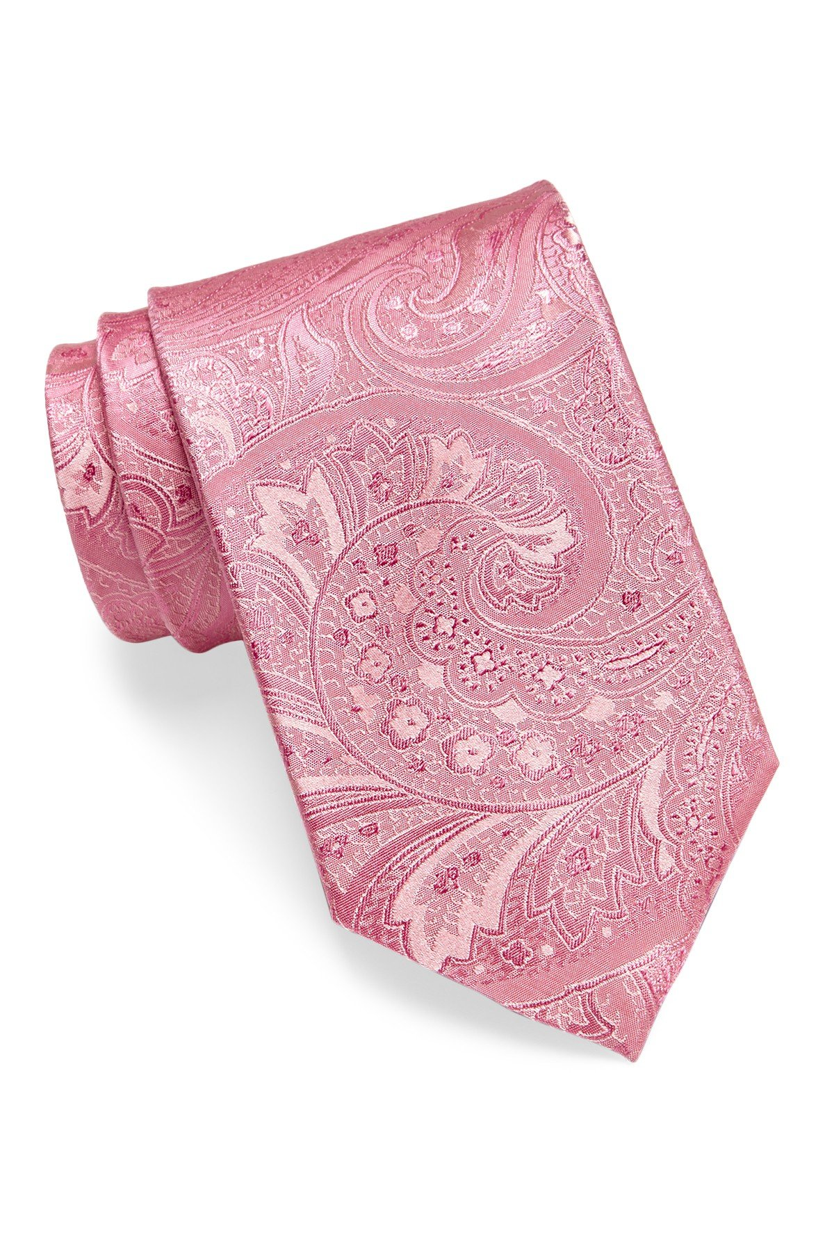 Hugo Boss Men's Tonal Paisley Silk Tie, OS (Open Pink)