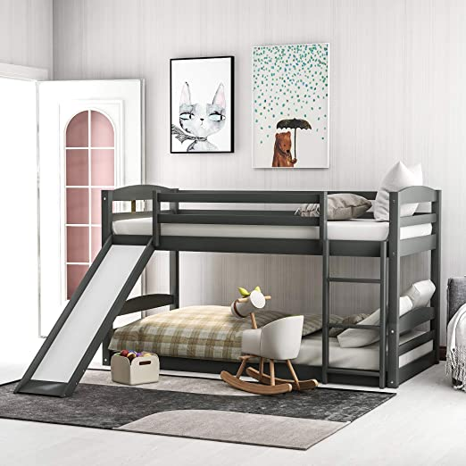 Amazon Com Low Bunk Bed Twin Over Twin Bunk Bed With Slide And Ladder For Boy Girls And Young Teens Gray Kitchen Dining