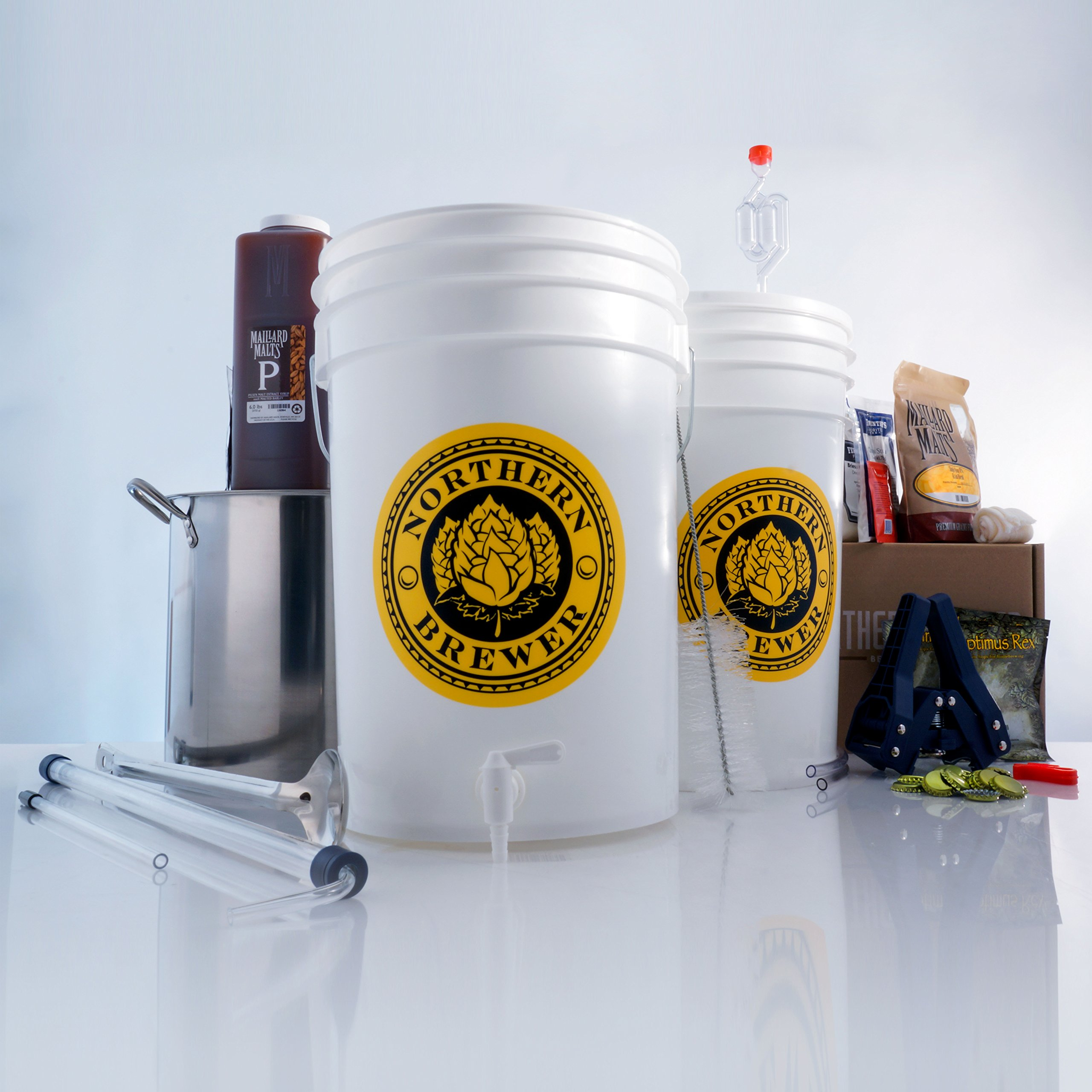 Northern Brewer - Brew. Share. Enjoy. Homebrew 5 Gallon Beer Brewing Starter Recipe Kit and Brew Kettle (Chinook IPA)