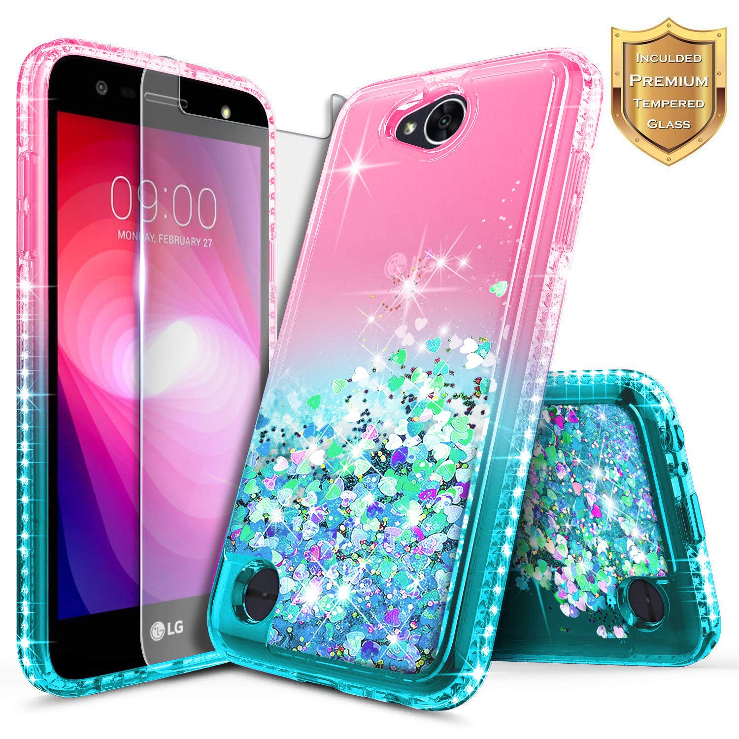LG Fiesta 2, LG X Charge, LG X Power 2 / Fiesta LTE Case w/[Tempered Glass Screen Protector], NageBee Glitter Liquid Quicksand Waterfall Floating Flowing Sparkle Bling Girls Cute Case -Pink/Aqua