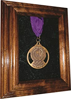 product image for All American Gifts Single Medal Display Case - 5x7 Walnut (Blue Velvet) - Other Velvet Colors Available