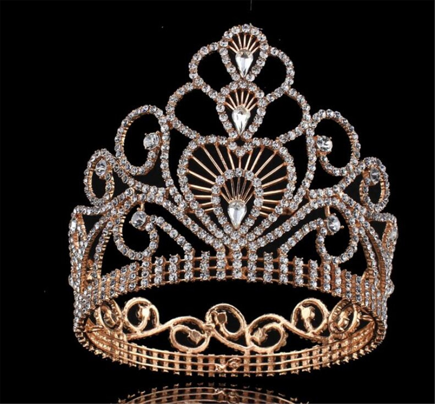 Wiipu 4.6'' High Round Royal Sparkly Rhinestones Tiaras Crowns,5.8'' Diameter(A1367) (Gold) by WIIPU (Image #2)