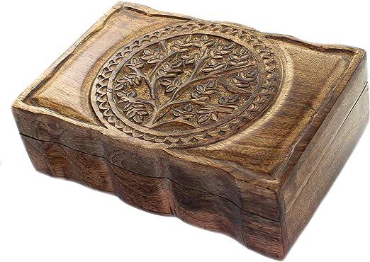 budawi - Baúl de Madera de Mango, 23 x 15 cm, Caja de Madera ...