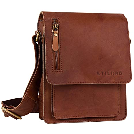 608bf2e9c2 STILORD Piccola borsa da uomo a tracolla in pelle Borsello Messenger Cuoio  a Spalla per Viaggi