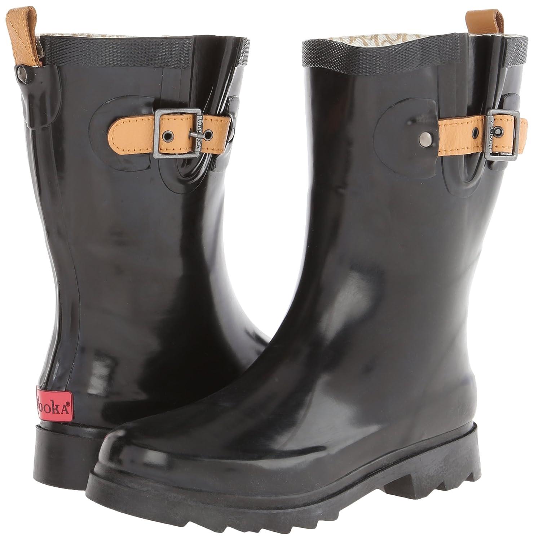 Chooka Women's Mid-Height Rain Boot B00F9PH5FY 8 B(M) US|Black/Shiny