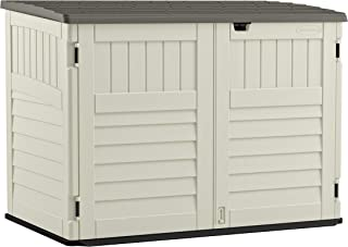 product image for Suncast 5' x 3' Horizontal Stow-Away Storage Shed - Natural Wood-like Outdoor Storage for Trash Cans and Yard Tools - All-Weather Resin, Hinged Lid, Reinforced Floor - Vanilla and Stoney