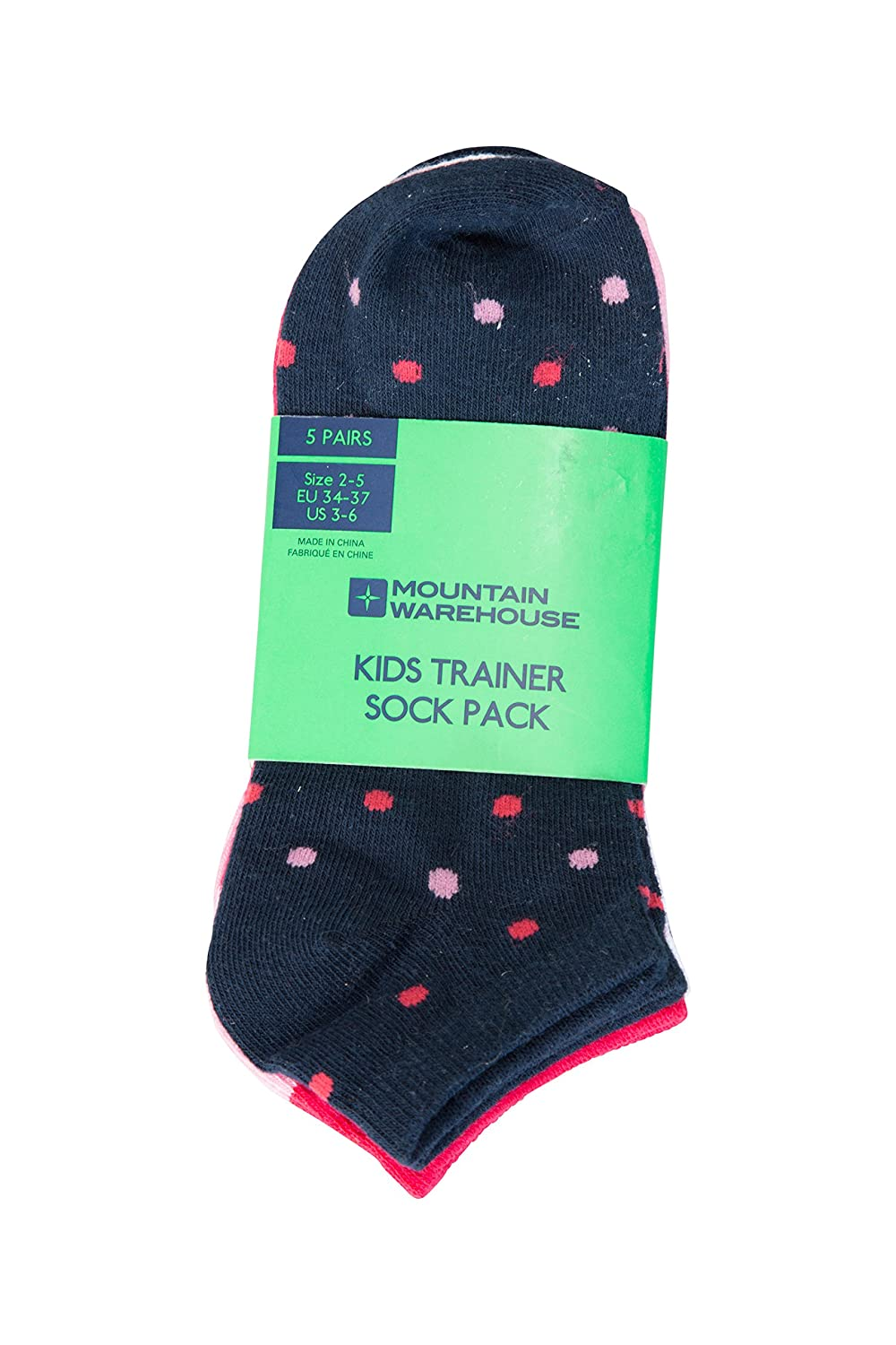 Mountain Warehouse Spot Girls Trainer Socks - Breathable Kids Socks, Durable Summer Socks, Elastic Cuffs Childrens Socks, Easy Care - for Walking, Sports, Running