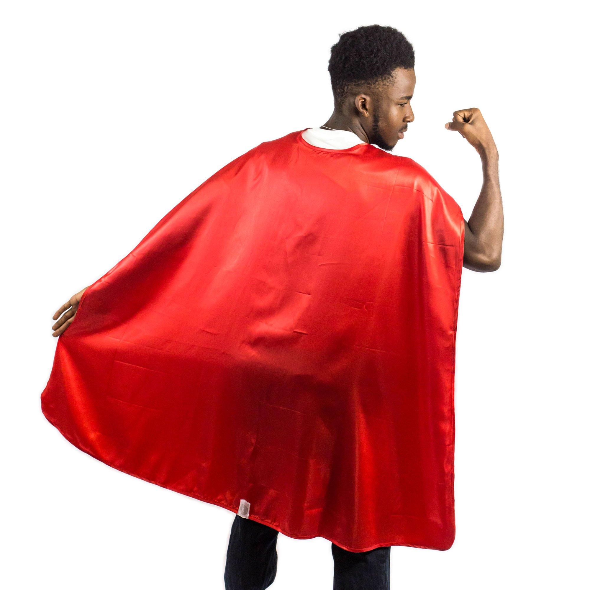 Everfan Men's Polyester Satin Superhero Cape 38'' LX48 W Red