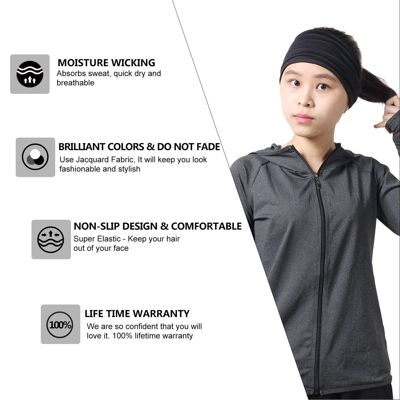 31b4d497485b Amazon.com   Qinglonglin Headbands for Men and Women - Sweat Wicking Turban  Elastic No Slip Fashion Multi Style Head Wrap Hair Band for Yoga Running  Tennis ...