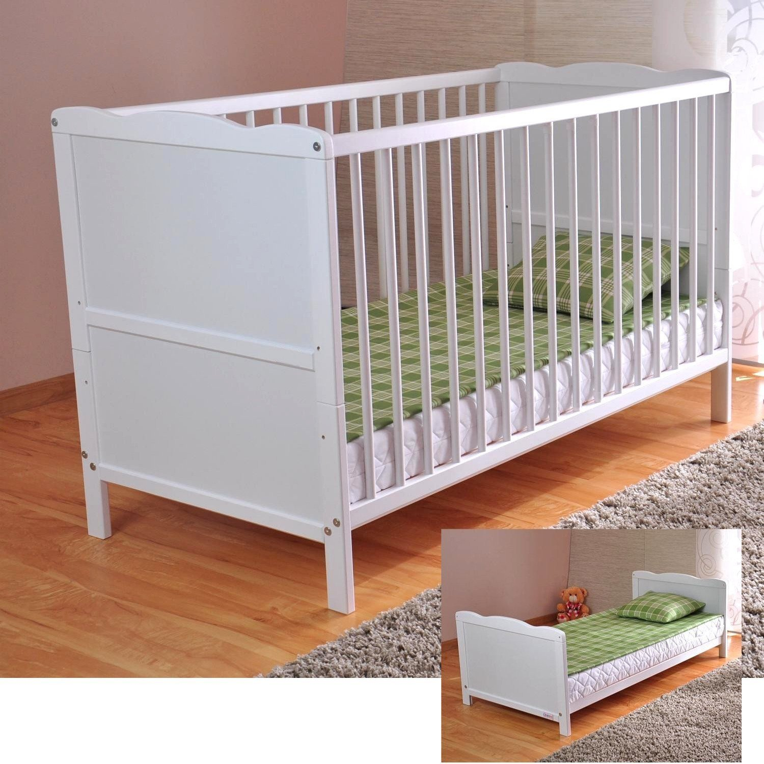 Free UK Delivery ✔ White Solid Wood Baby Cot Bed & Deluxe Foam Mattress Converts into a Junior Bed ✔ 3 Position ✔ Water Repellent Mattress Liner Extreme Furniture AX120