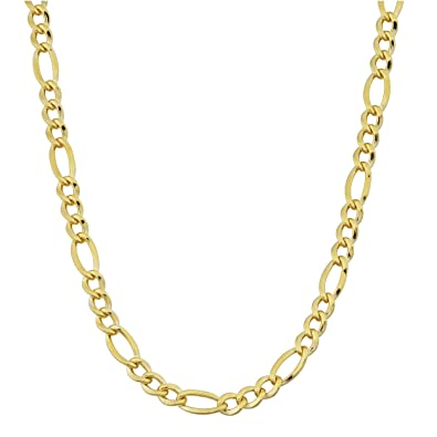d2663a468 Amazon.com: 14k Yellow Gold Filled Solid 3.2mm Figaro Link Chain (18 inch):  Chain Necklaces: Jewelry