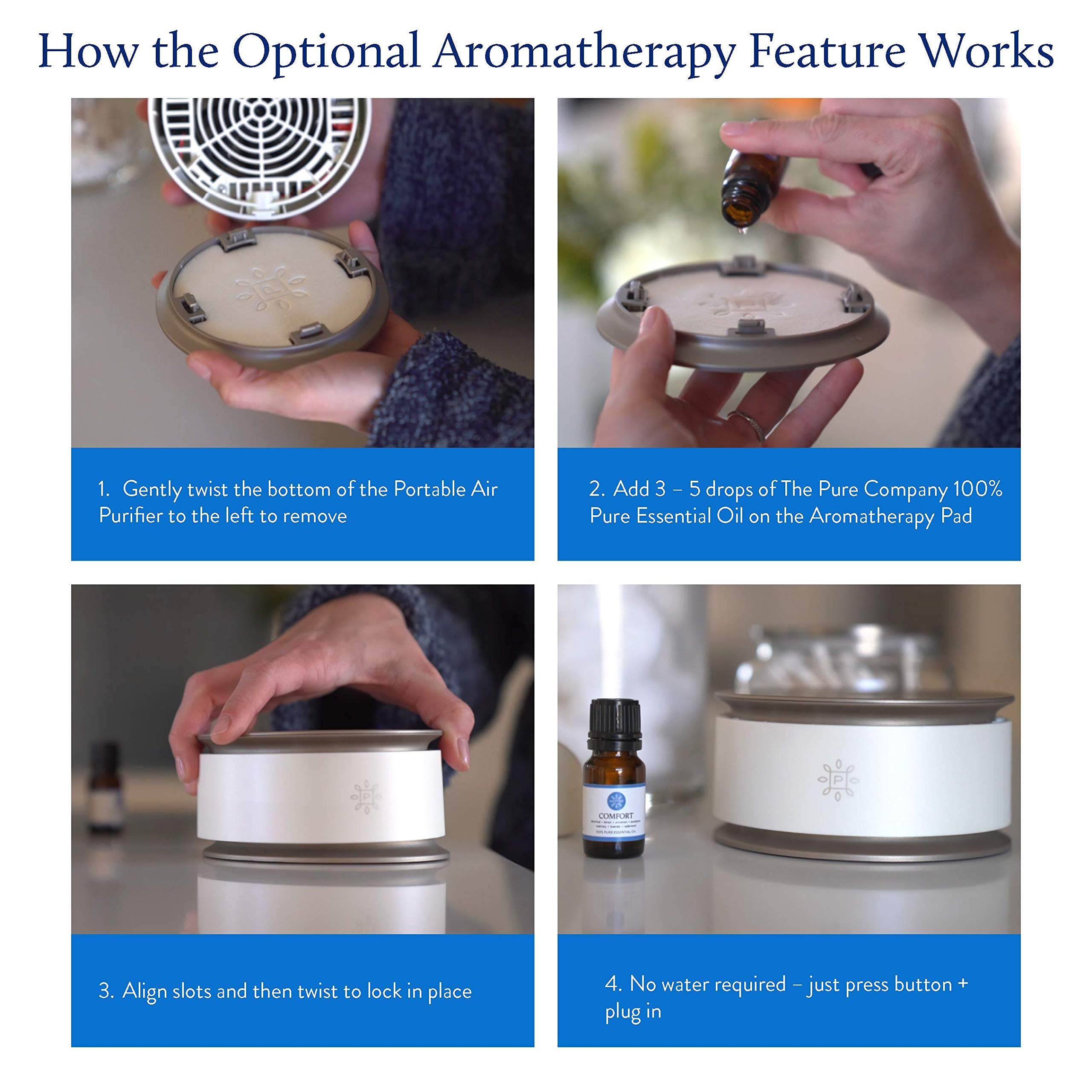 The Pure Company Portable Air Purifier is Lightweight, Super-Quiet and Designed so it Needs no Tools, Maintenance or Filters! by The Pure Company