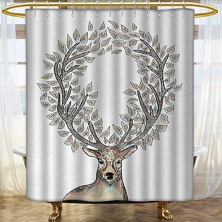 Anhounine Deer Shower Curtains Sets Bathroom Hipster Reindeer With Floral Horns Mythical Creature Pastel Color Illustration