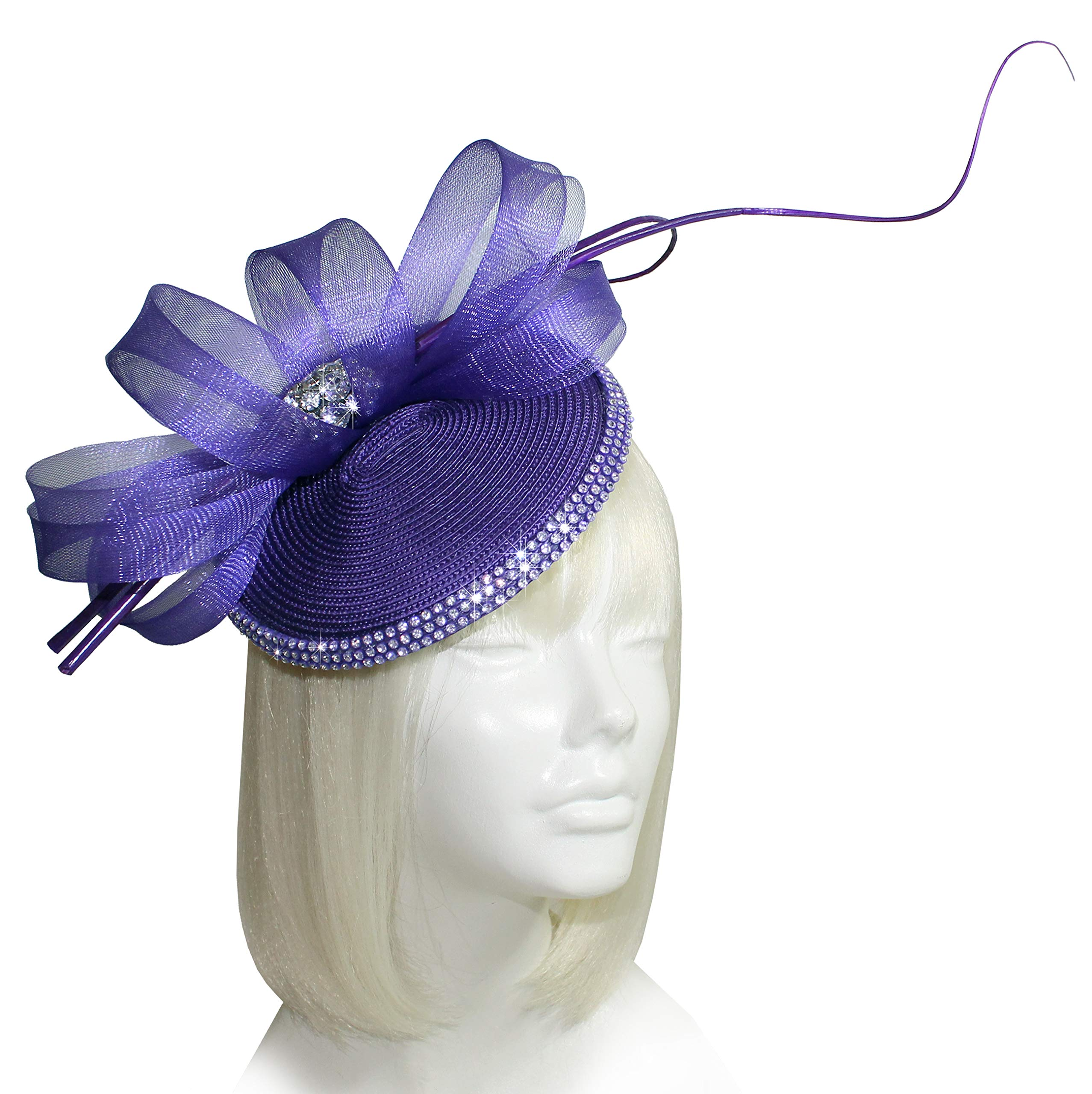 Mr. Song Millinery Kentucky Derby Profile Dish Fascinator Headband SF65 Purple