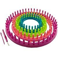 K7plus® 6 tlg. Strickring Set Strickrahmen - Knitting Loom – Strickliesel – Haken – gebogene Nadel - 4 Strickrahmen (29 cm + 24 cm + 19 cm +14 cm) mit Zubehör und Anleitung