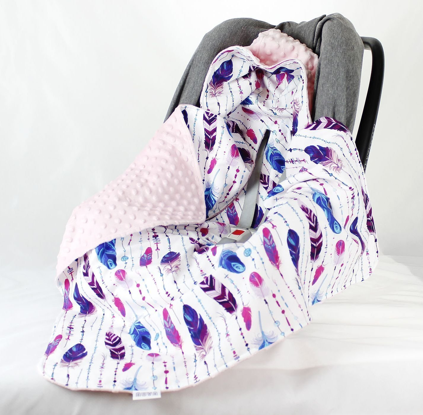 Feather Girl Car Seat Blanket, Hooded Car Seat Blanket, Swaddle Travel Blanket