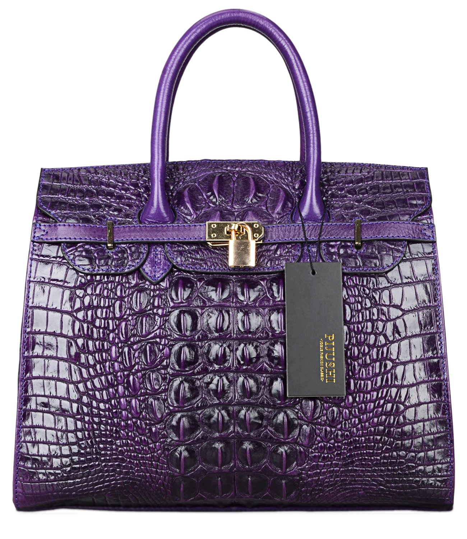 PIJUSHI Crocodile Handbags And Purses Satchel Office Padlock Handbag For Women 22130 violet