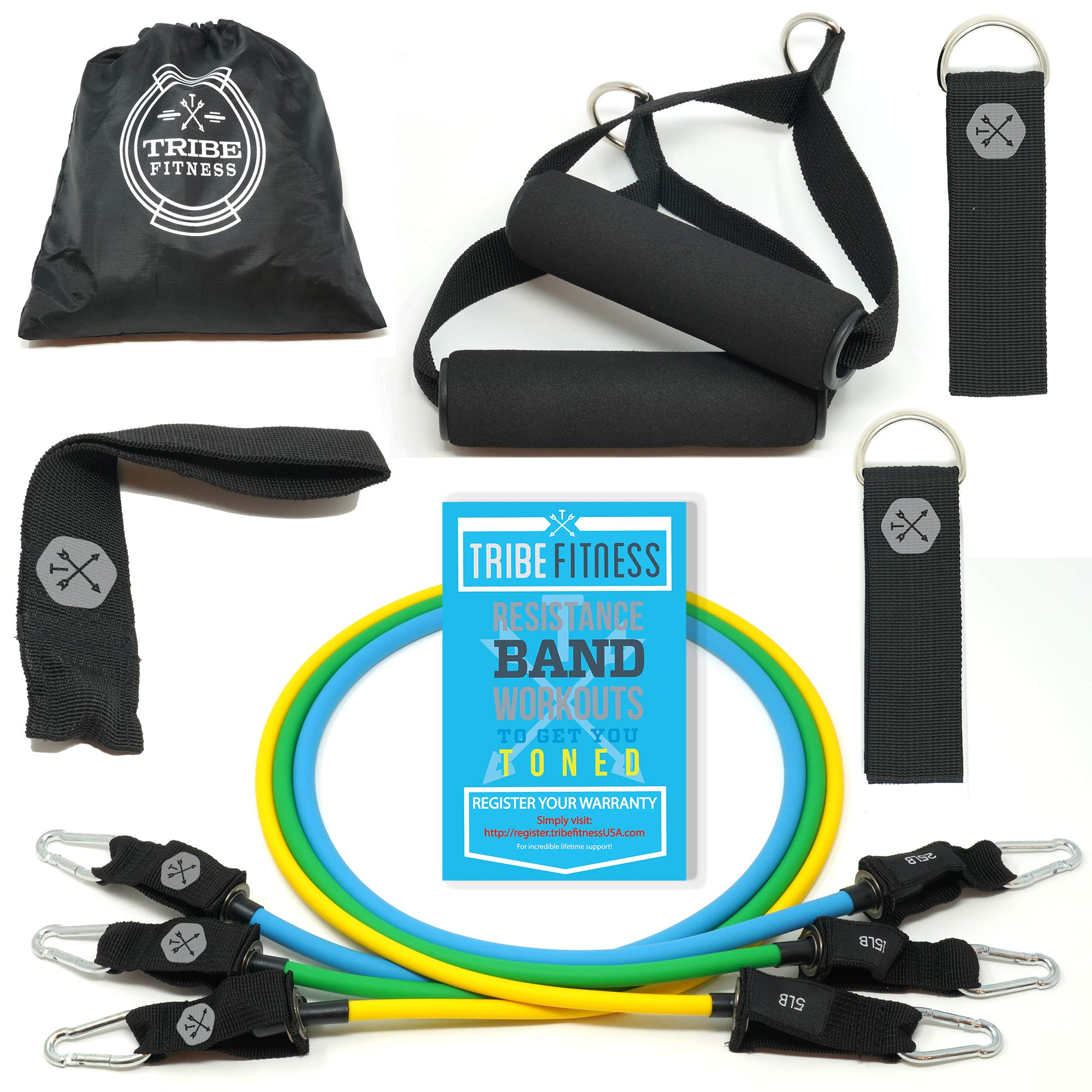 TRIBE Resistance Bands Set, Exercise Bands for Working Out - Includes Stackable Workout Bands, Handles, Ankle Straps, Door Anchor, Carry Bag & Bonus eBook