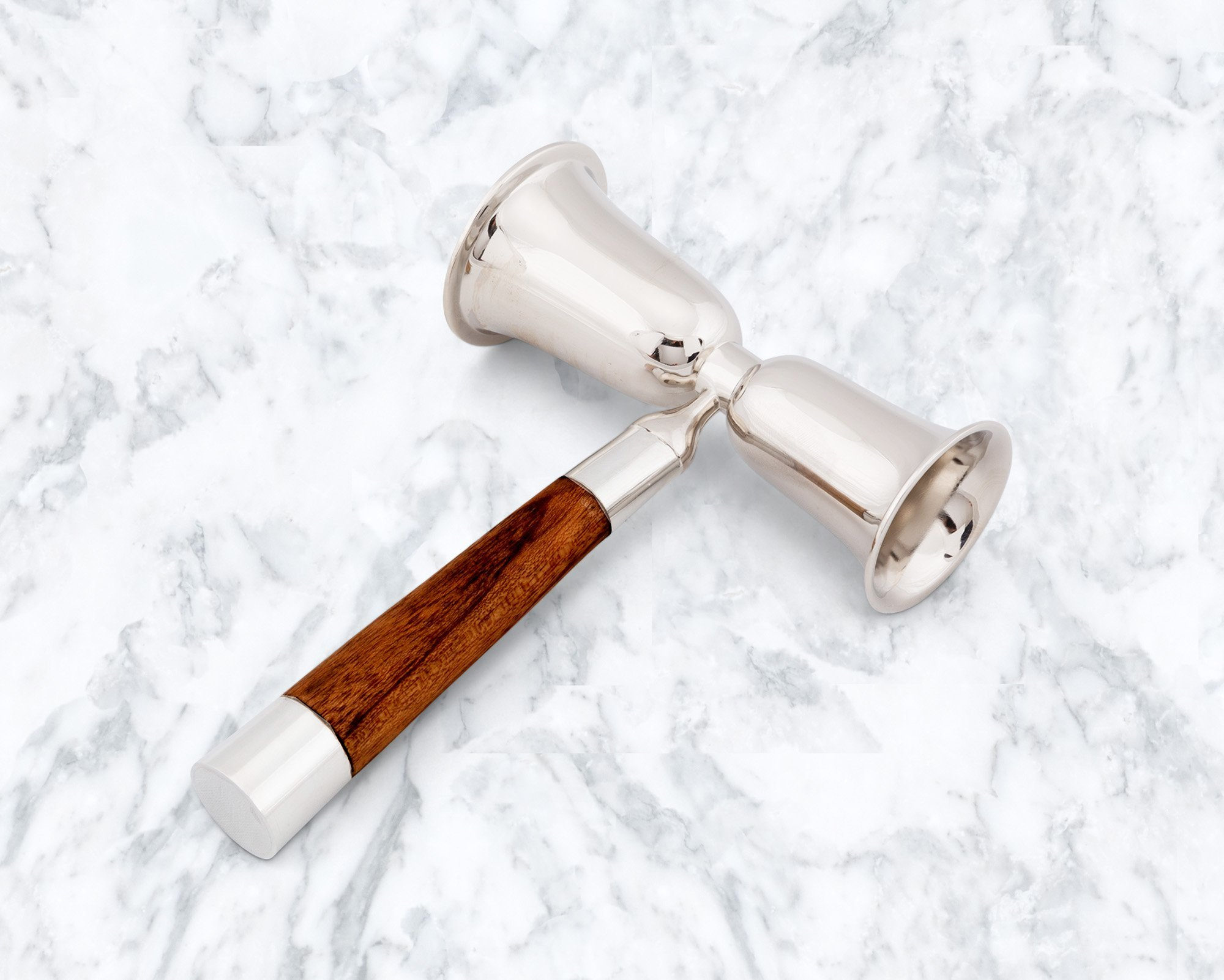 Vagabond House Modern Tribeca Collection Double Jigger; Pewter and Teak Handles