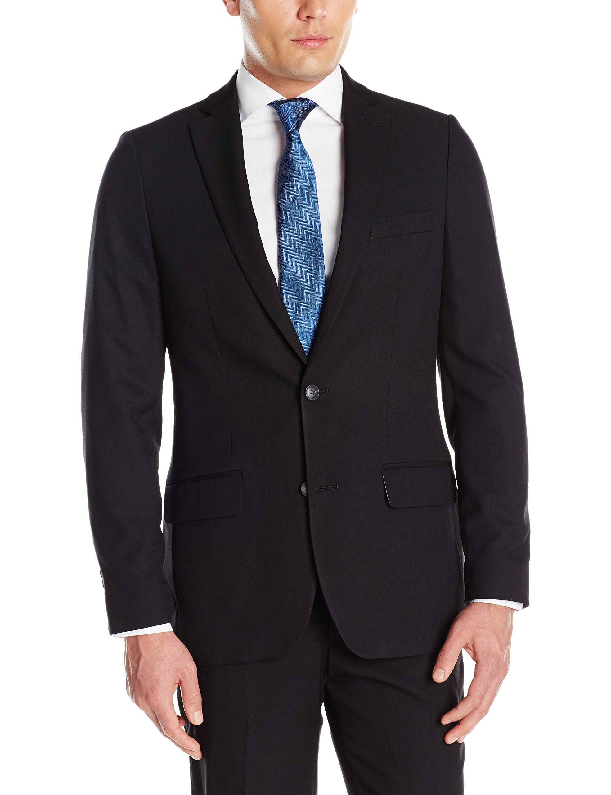 Haggar Men's Stretch Gab Slim Fit 2-Button Suit Separate Coat, Black, 36R by Haggar