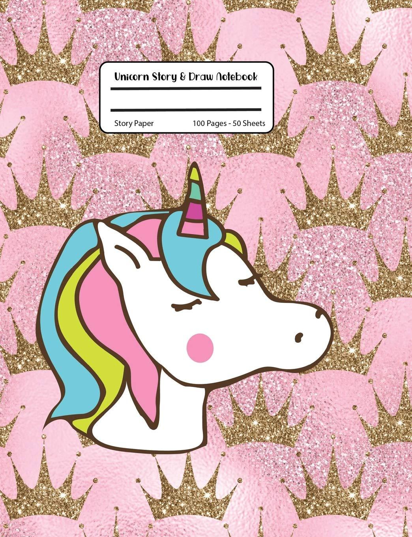 Unicorn Story & Draw Notebook: Gold Glitter Pink Princess