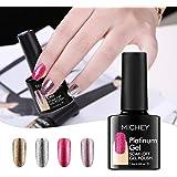 MICHEYGel UV Gel Nail Polish, 4pcs, Super Glossy Platinum Nail Polish