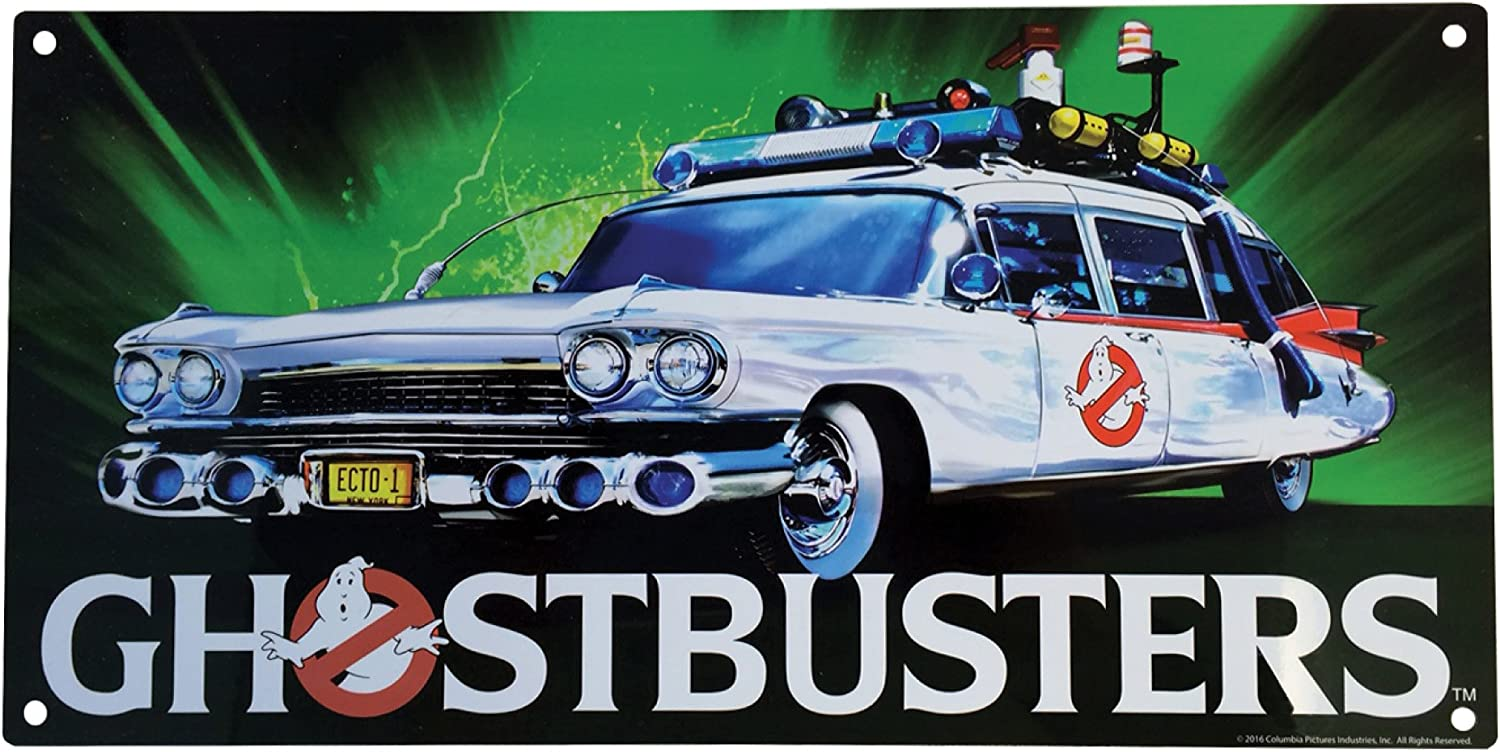 """Factory Entertainment Ghostbusters Ecto-1 Metal Sign, 10"""", Multicolor"""