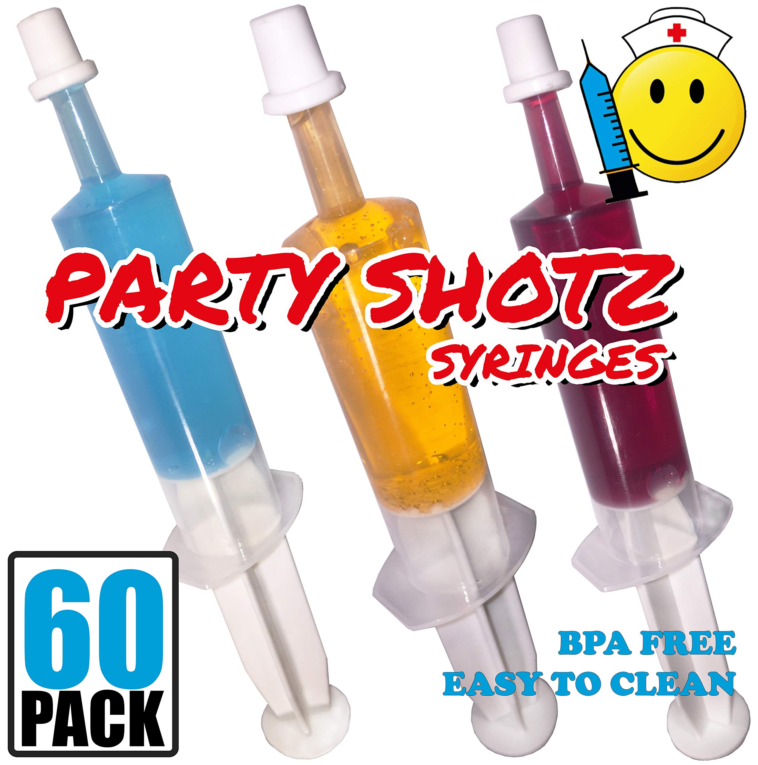 60 Pack Party Shotz Jello Shot Syringes (Medium 1.5oz with CAPS) by Party Shotz