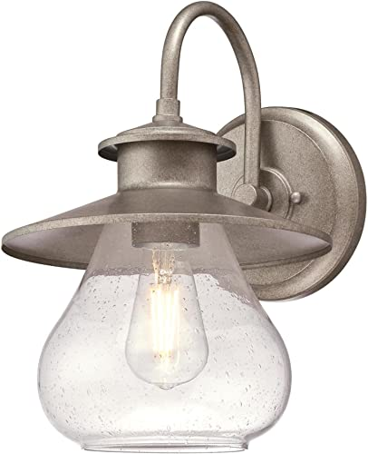 Westinghouse Lighting 6361200 Delmont One-Light, Weathered Steel Finish with Clear Seeded Glass OUTDOOR WALL Fixture