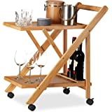 Relaxdays Bamboo Kitchen Trolley, Foldable Serving Cart with Bottle Holder, Wooden, Castors, HxWxD: 70 x 40.5 x 65 cm, Natural