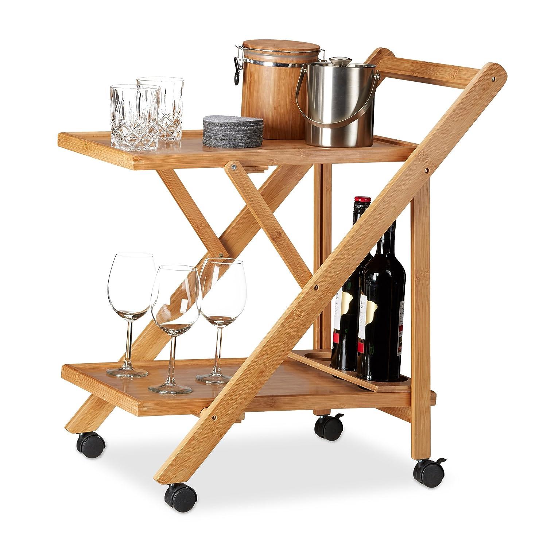 Relaxdays Küchenwagen Bambus, Servierwagen klappbar mit Flaschenhalter, Rollwagen Holz, HxBxT: 70 x 40,5 x 65 cm, natur 10022164