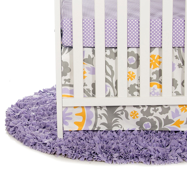 Sweet Potato Fiona Starter Set Includes Micro Dot Sheet and Crib Skirt, Purple/White/Yellow