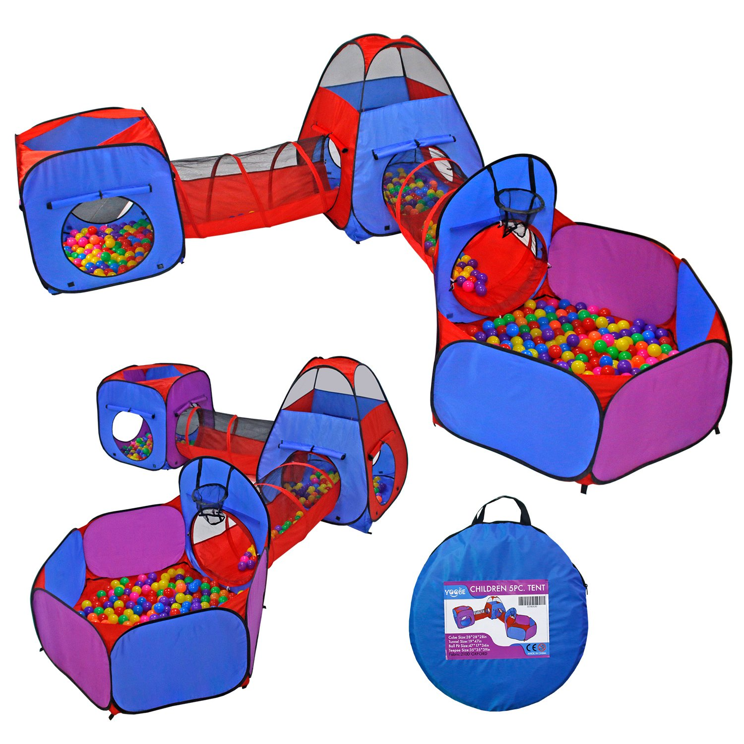 Yoobe 5pc Pop up Play Tent and Tunnels Toy Indoor & Outdoor Child Tent with Ball Pit Playhouse