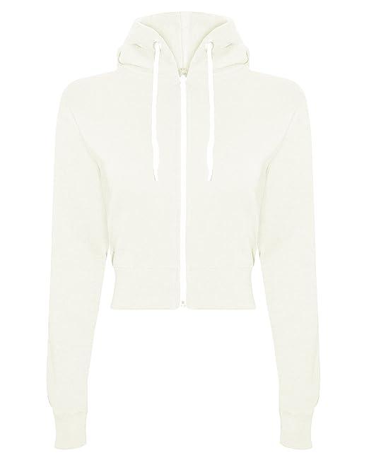 Sudadera de manga larga con capucha para mujer de talle cortado con cremallera, sudadera con capucha XS S M L Marfil blanco crema Large: Amazon.es: Ropa y ...