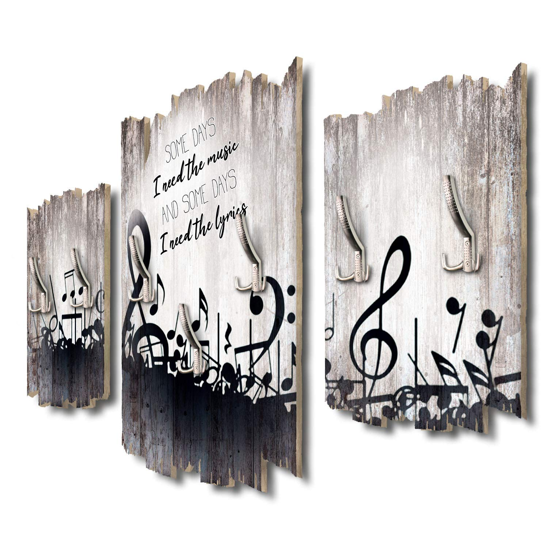 Kreative Feder Some Days Schwarze Noten Designer Wandgarderobe Flurgarderobe Wandpaneele 95 x 60 cm aus MDF DTGH136