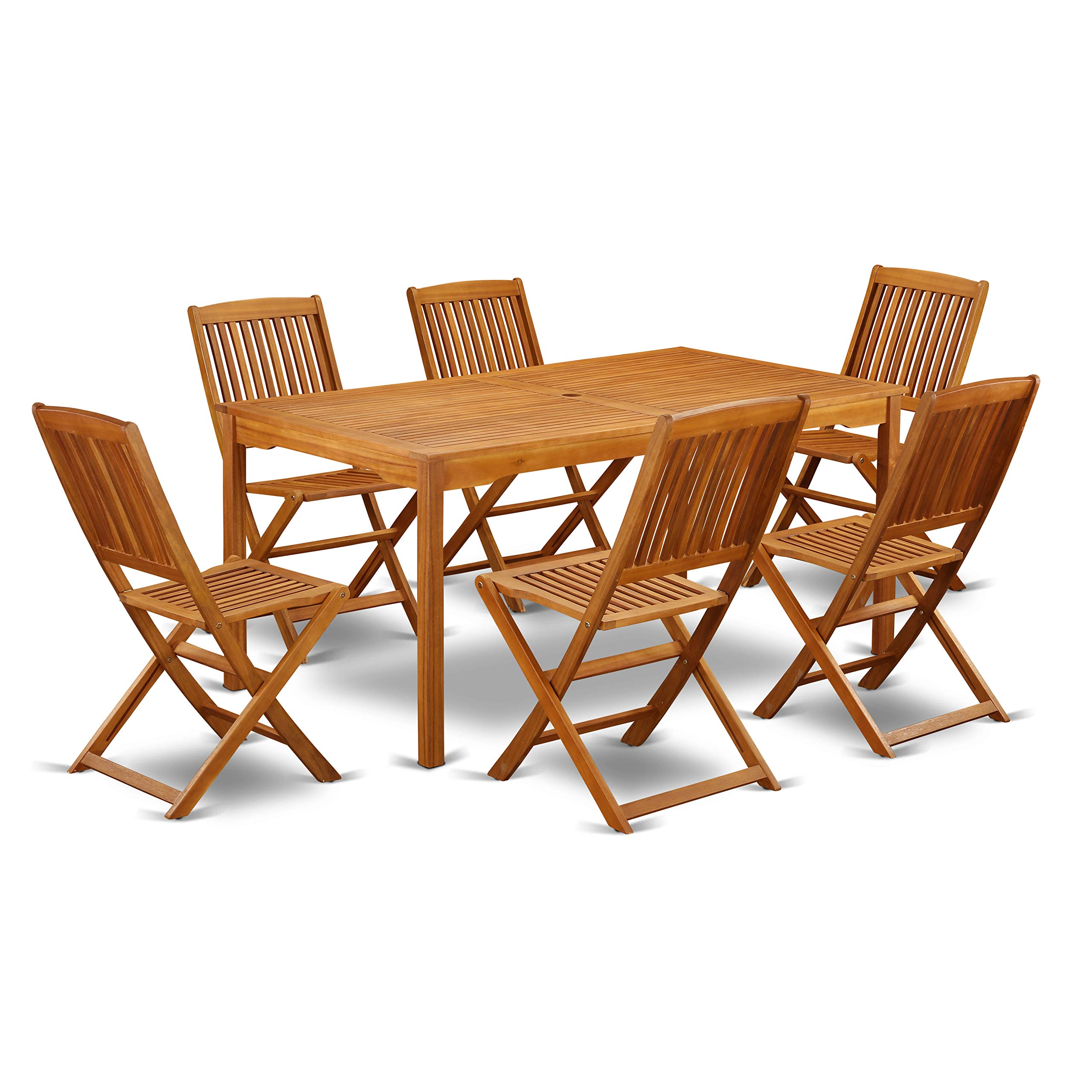 East West Furniture CMCM7CWNA This 7 Piece Acacia Solid Wood Outside Sets Offers one Outdoor Table and Six Patio Dining Chairs, Natural Oil