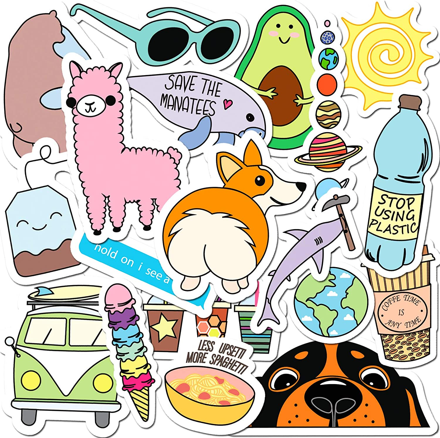 Laptop Stickers for Water Bottles Big 19-Pack Cute,Waterproof,Aesthetic,Trendy Stickers for Teens,Girls Perfect for Waterbottle, Phone, Made in US