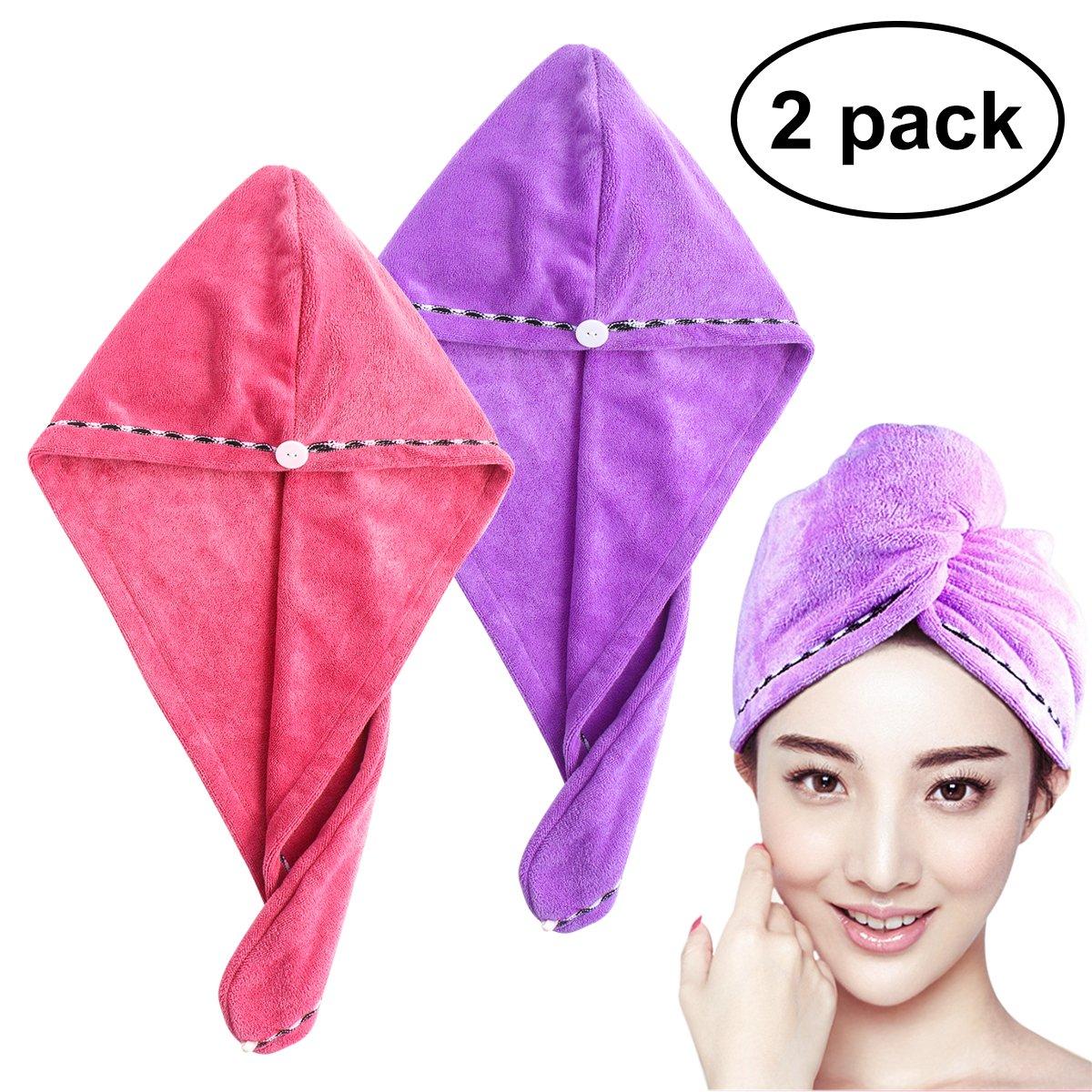 Frcolor Toalla de secado del cabello ultra absorbente de agua torcedura pelo turban abrigo de pelo de secado (2pcs rosa púrpura)