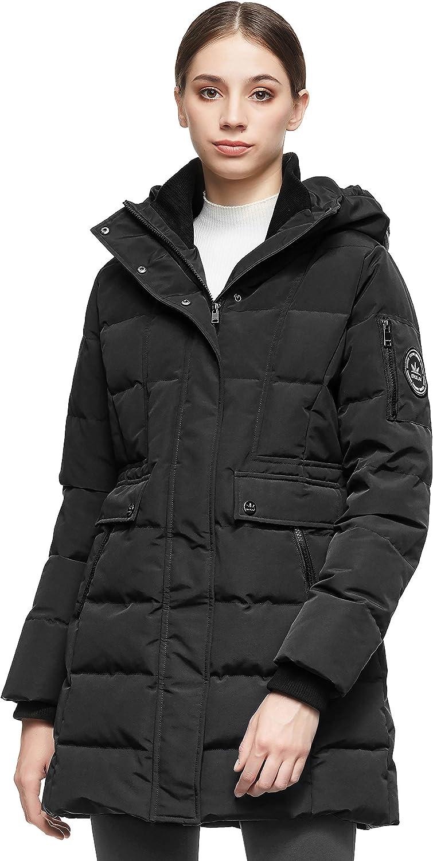 Orolay Women/'s Mid Length Hood Down Jacket Warm Winter Coat