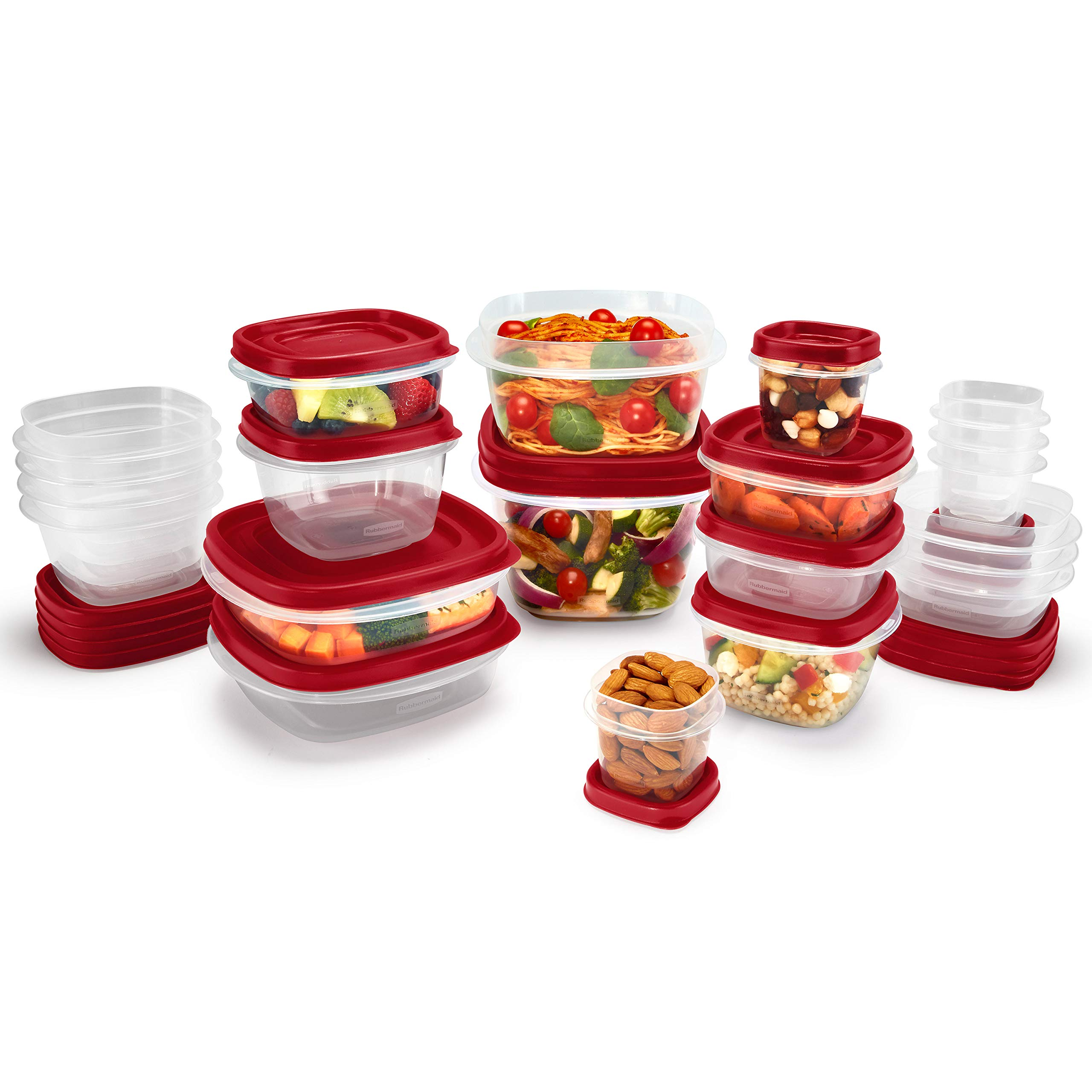 Rubbermaid 2063704 Easy Find Vented Lids Food Storage Container, 42pc New, Racer Red by Rubbermaid (Image #2)