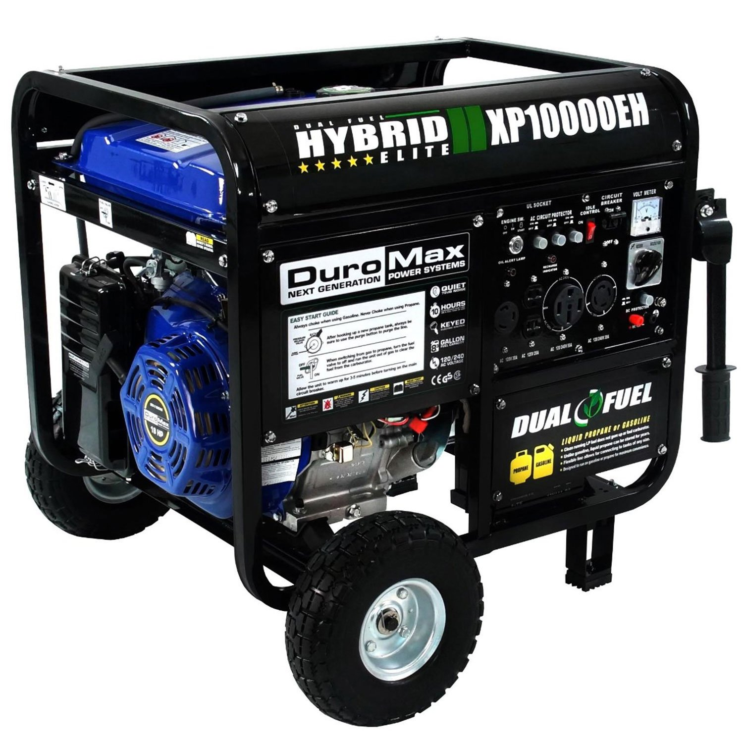 Duromax XP10000EH 10000 Watt Dual Fuel Hybrid Generator W Elec. Start 50-State (Refurbished)