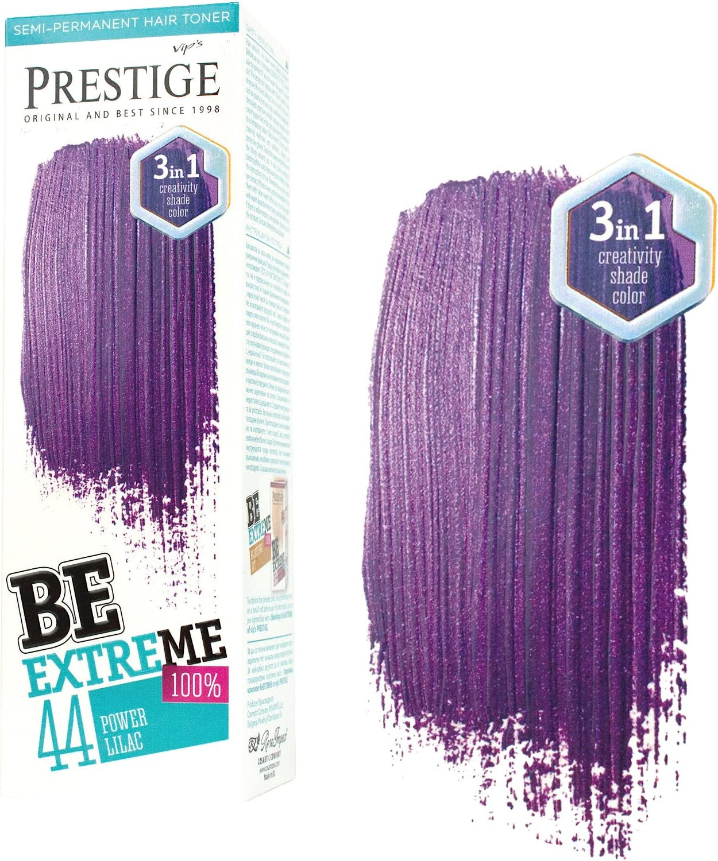 Be Extreme Tóner Semi Permanente para Pelo, Color 44 Lila Potente - Sin Amoniaco, Sin Parabenos y PPD