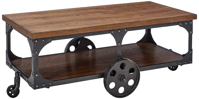 Industrial coffee table wood cocktail rolling cart w metal wheels bottom shelf