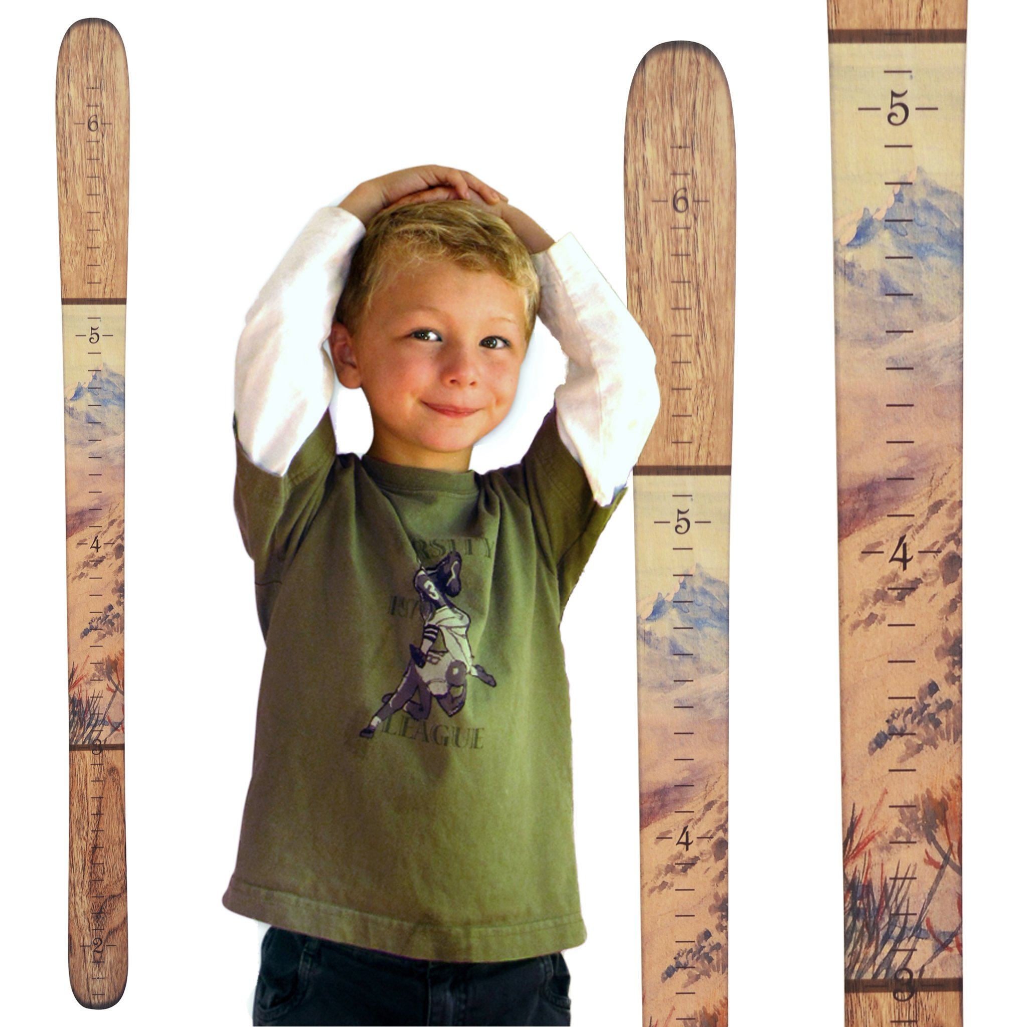 Growth Chart Art | Wooden Ski Growth Chart | Baby Skis | Ski Gifts | Wall Hanging Wood Height Chart for Measuring Kids, Children, Boys, Girls | Maple Mountain
