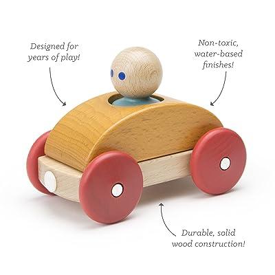 3 Piece Tegu Magnetic Racer Building Block Set, Orange: Toys & Games