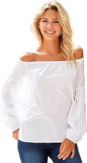 VENCA Blusa Escote Barco elástico Mujer - 014250: Amazon.es: Ropa