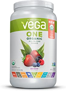 Vega One Organic All-in-One Shake Berry (18 Servings) - Plant Based Vegan Protein Powder, Non Dairy, Gluten Free, Non GMO, 24.3 Ounce (Pack of 1)