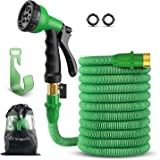 "SingPad Garden Hose,100ft Expandable Water Hose, On/Off Valve,3/4"" Solid Brass,Durable, Kink-Free Hose end 8-Pattern Spray Nozzle and Hose Storage Bag (100ft Green)"